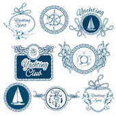 Yachting sketch emblems set — Vetorial Stock