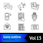Media icons outline — Stock Vector