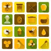 Bee Honey Icons Flat — Stock Vector