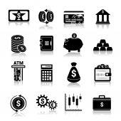 Money finance icons black — Stock Vector