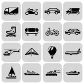 Transport icons black set — Cтоковый вектор