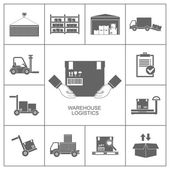 Warehouse icons black — Stock Vector