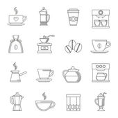 Coffee icons outline — Stock Vector