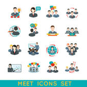Meeting icons set flat — Stock Vector