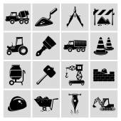 Construction icons set black — Stock Vector