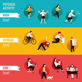 Physical activity horizontal banners — Stock Vector