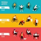 Physical activity horizontal banners — Vector de stock