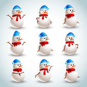 Snowman emotions set — Stock Vector