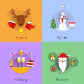 Christmas flat set — Stockvektor