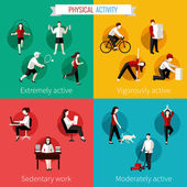 Physical activity flat set — Stockvector