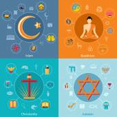 Religions flat set — Vector de stock