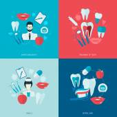 Teeth icons flat — Vettoriale Stock