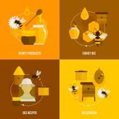 Bee honey icons flat — Stock Vector