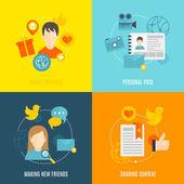 Social icons flat set — Stock Vector