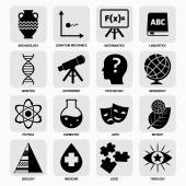 Science areas icons black — Stock Vector