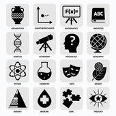 Science areas icons black — Vector de stock