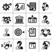Business management icons black — Stock Vector