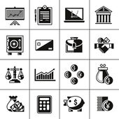 Finance icons set black — Stock vektor