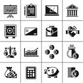 Finance icons set black — Vector de stock