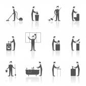 Cleaning People Set — Stock Vector