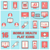 Mobile health icons set flat line — Vecteur