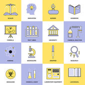 Chemistry Flat Line Icons — Stock Vector