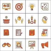 Marketers flat line icons set — Vector de stock