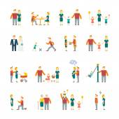 Family icons set flat — Vector de stock