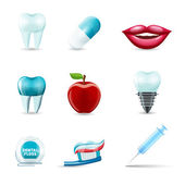 Dental icons realistic — Stock Vector