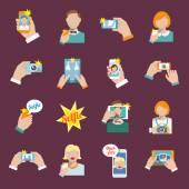 Selfie icons flat — Vector de stock