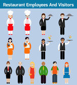 Restaurant employees flat — Stock Vector