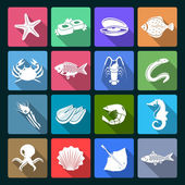 Seafood icons set white — Stock vektor
