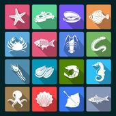 Seafood icons set white — Vector de stock