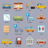 City infrastructure icons — Vector de stock