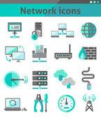 Conjunto de iconos de red — Vector de stock