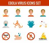 Ebola virus icons flat — Stock Vector