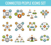 Connected people flat icons set — Stock vektor
