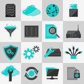 Database icons flat — Vector de stock