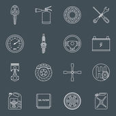 Car parts icons outline — Stock Vector