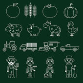 Farm icons set outline — Stock Vector