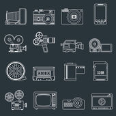 Photo video icons set outline — Stock Vector