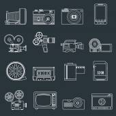 Photo video icons set outline — Stock vektor