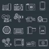Photo video icons set outline — Vector de stock