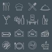 Restaurant icons set outline — Vecteur