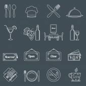 Restaurant icons set outline — Vector de stock
