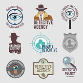 Detective label set — Stock Vector