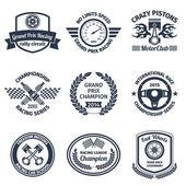 Racing emblems black — 图库矢量图片
