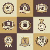 Anniversary label set — Stock Vector
