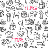Fitness sketch black and white seamless pattern — Stock Vector