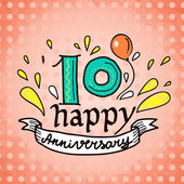 Anniversary sign 10 — Vector de stock